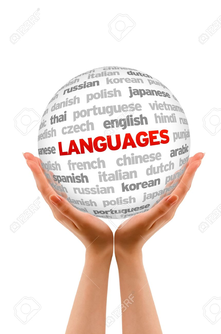 Hands holding a Languages Sphere sign on white background. Stock Photo - 14363543