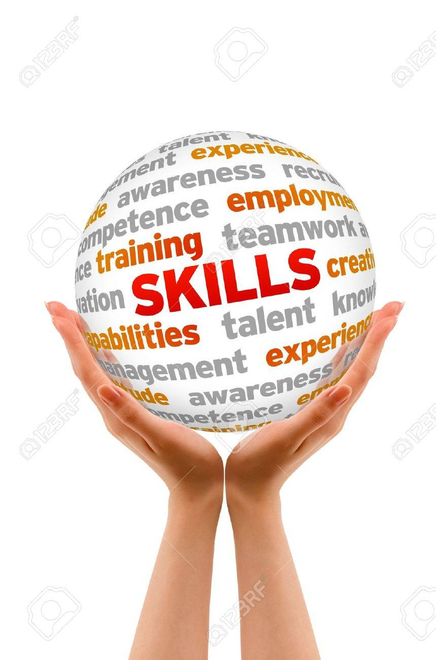 Hands holding a Skills word Sphere sign on white background. Stock Photo - 14363557