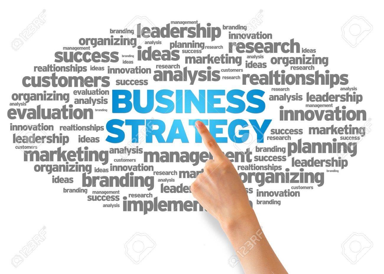 Business Strategy | Hand Deutete Auf Ein Business Strategy Word Cloud Auf Weissem