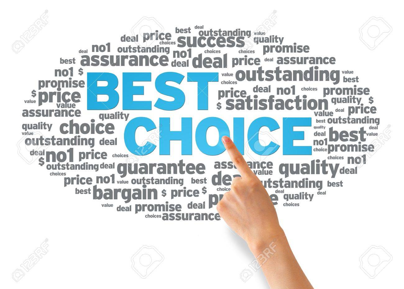 Hand pointing at a Best Choice Word Cloud on white background. Stock Photo - 14768845