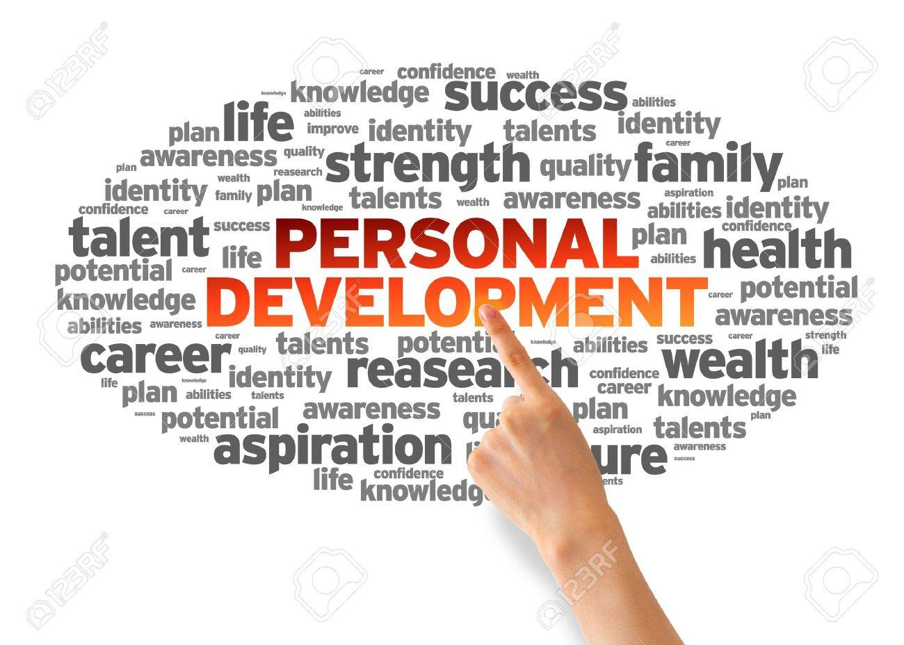 personal development images stock pictures royalty personal development hand pointing at a personal development word cloud on white background