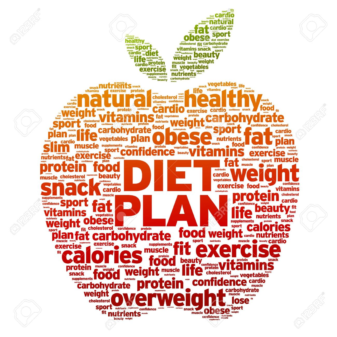 Diet Plan Apple word illustration on white background. Stock Vector - 14841158