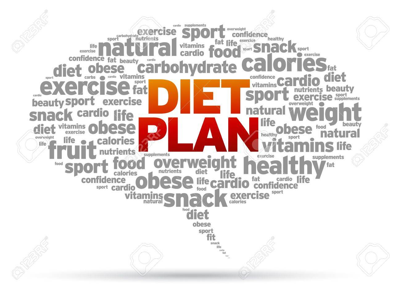 Diet Plan word speech bubble illustration on white background. - 14841140