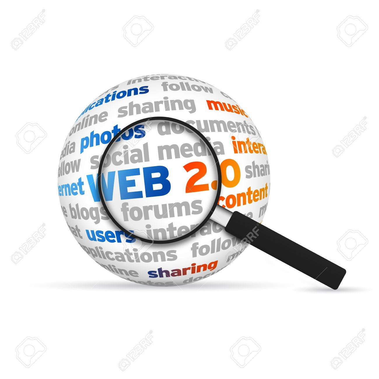 Web 2.0 3d Word Sphere with magnifying glass on white background. Stock Photo - 14955789
