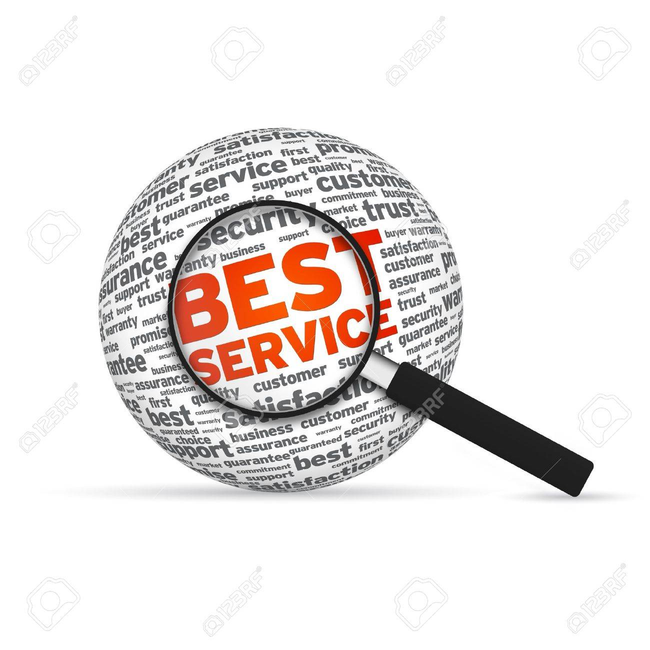 Best Service 3d Word Sphere with magnifying glass on white background Stock Photo - 14955867