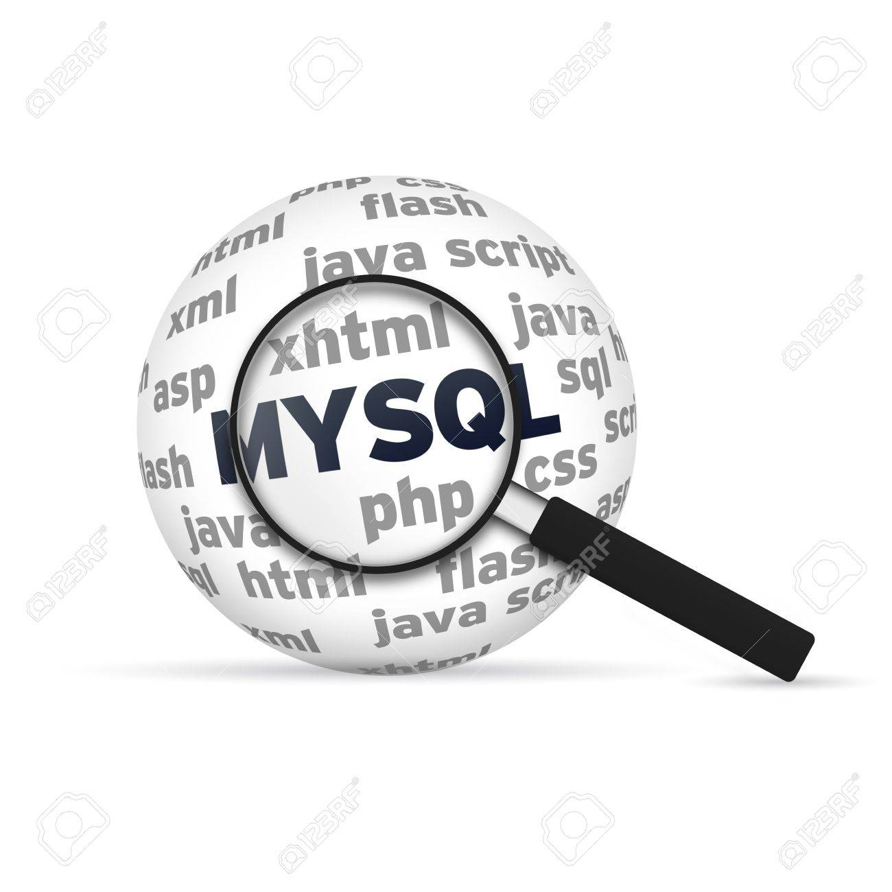Mysql 3d Sphere with magnifying glass on white background Stock Photo - 14955849