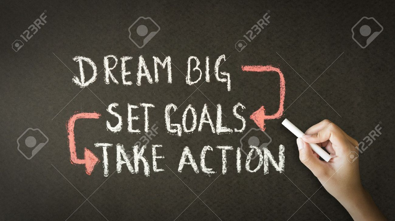 A person drawing and pointing at a Dream Big, Set Goals, Take Action chalk illustration - 20366182
