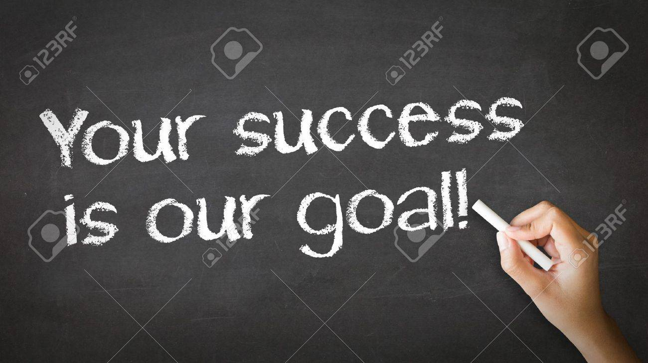 A person drawing and pointing at a Your Success is our goal Chalk Illustration Stock Illustration - 20455435