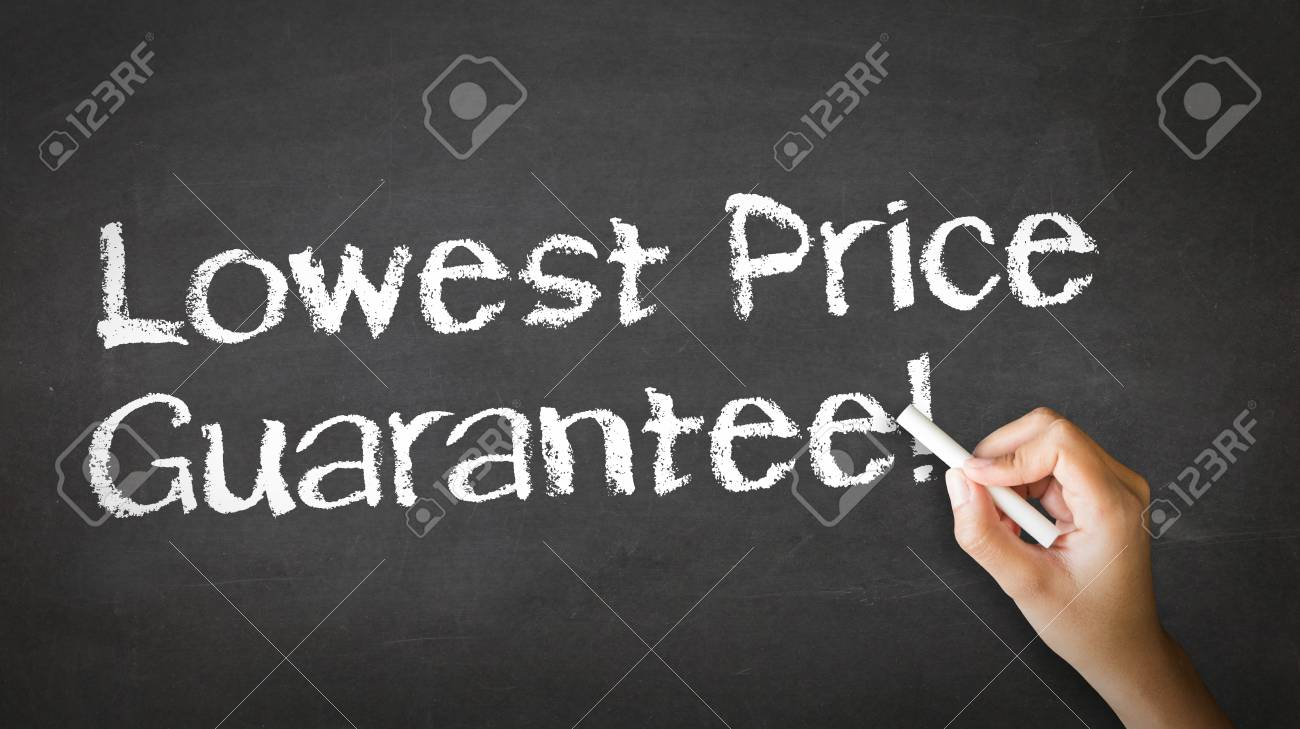 A person drawing and pointing at a Lowest Price Guarantee Chalk Illustration Stock Photo - 21604645