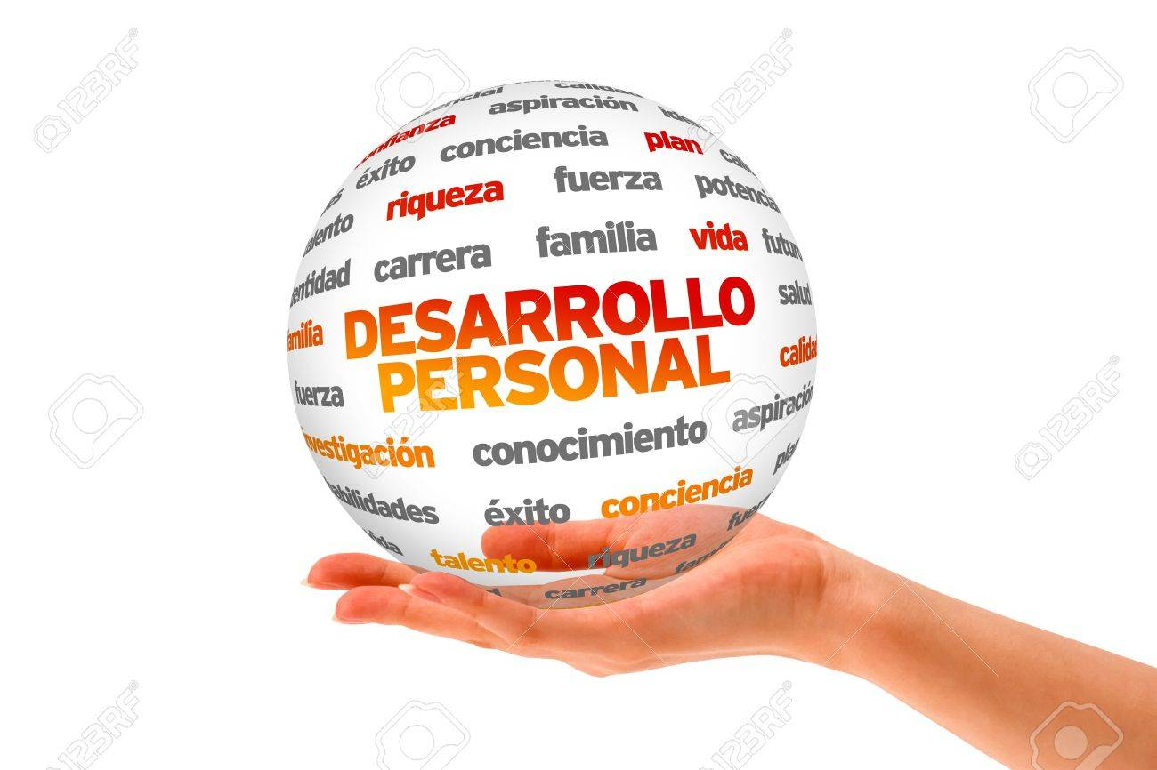 Hand holding a Personal Development 3D Sphere on white background. Stock Photo - 21604800