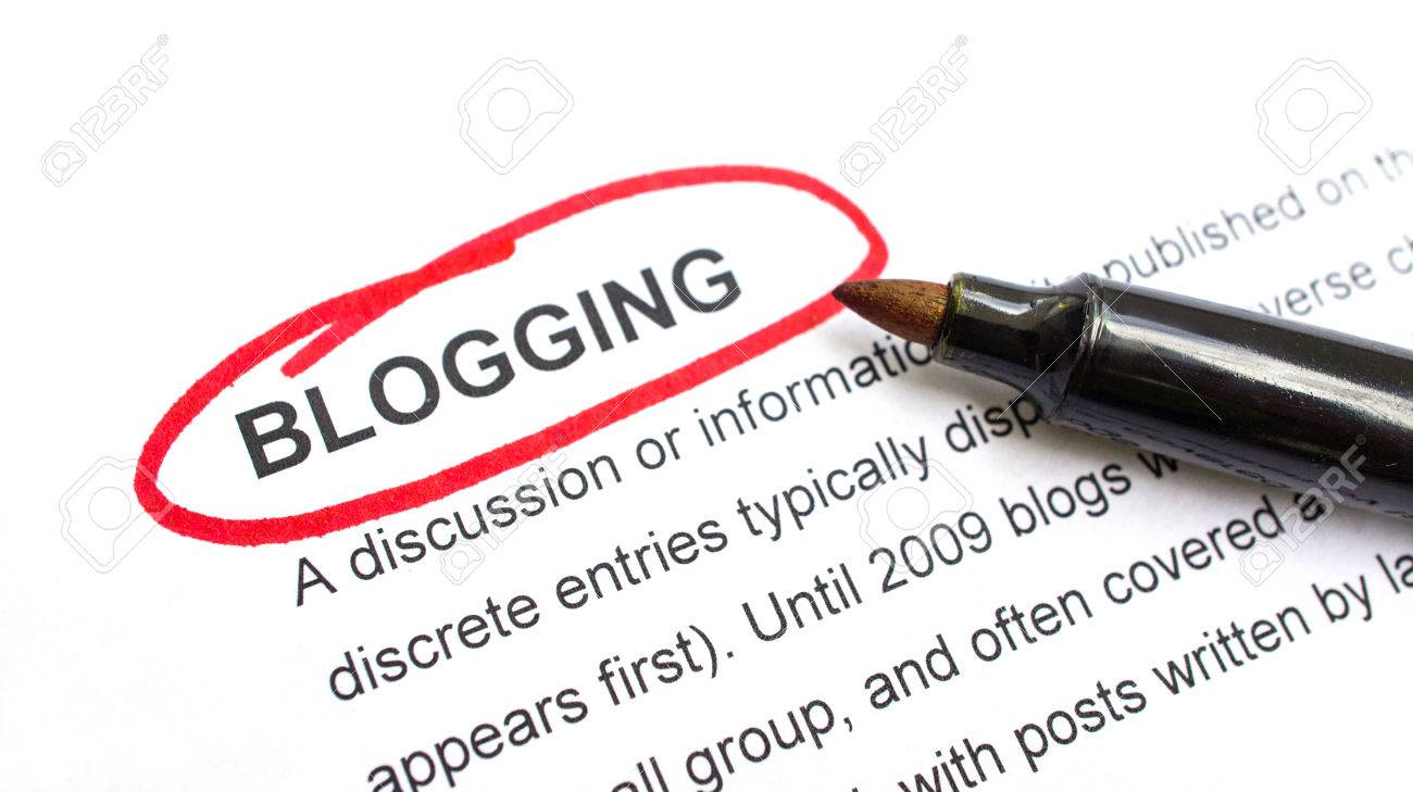 Blogging explanation with heading circled in red. Stock Photo - 23123166