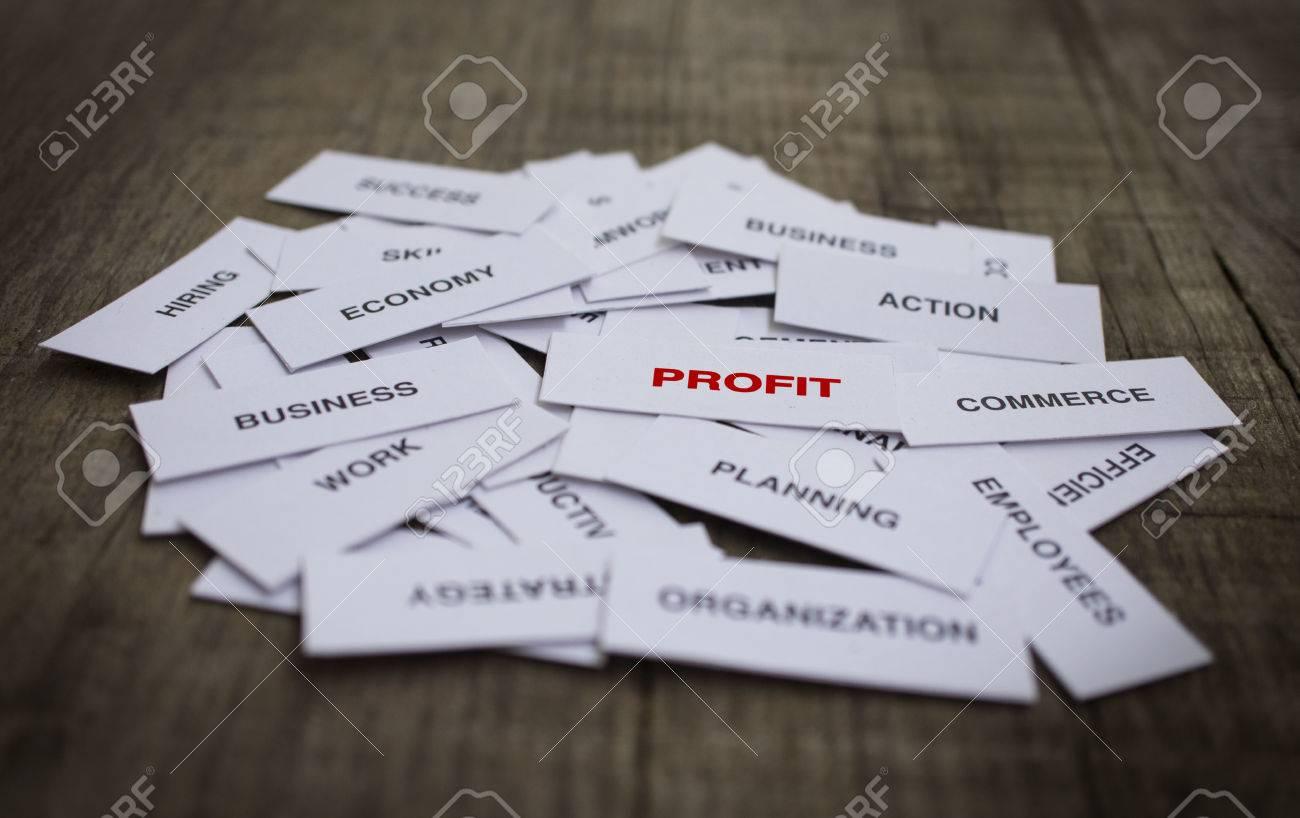 Paper strips with Profit Concept related words on wooden background Stock Photo - 23330205