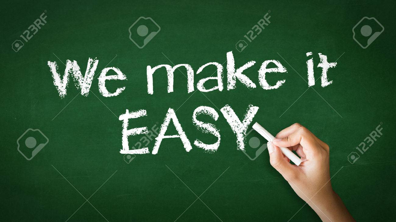 A person drawing and pointing at a We make it easy Chalk Illustration - 25604276