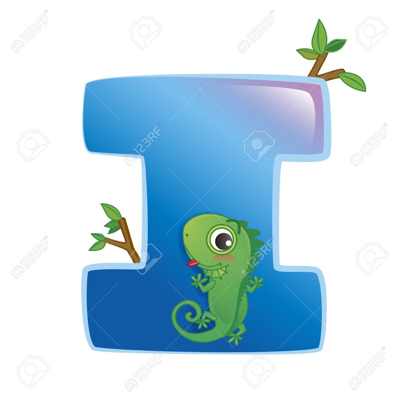 illustration of isolated animal alphabet I with iguana on white Stock Vector - 14322896