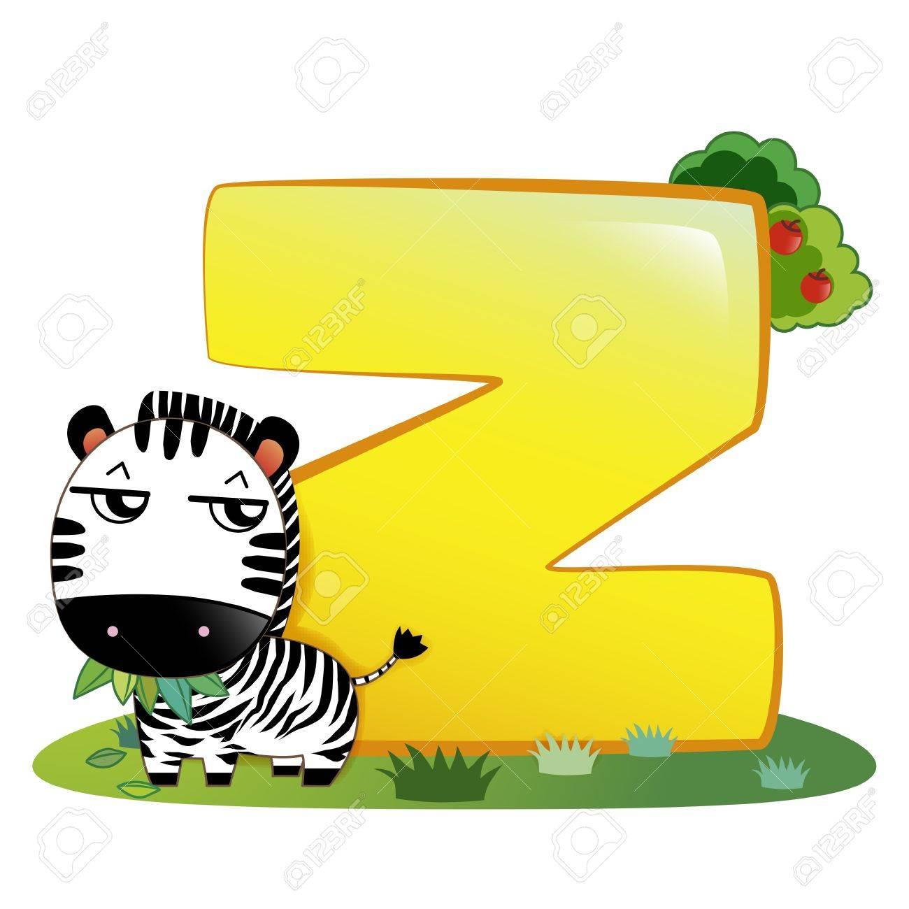 illustration of isolated animal alphabet Z with zebra on white Stock Vector - 14322910