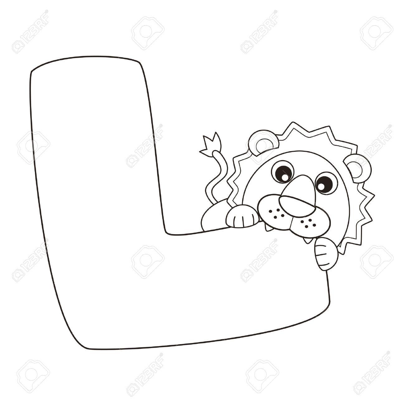 Alfabeto Para Colorear Para Los Niños, L Ilustraciones Vectoriales ...