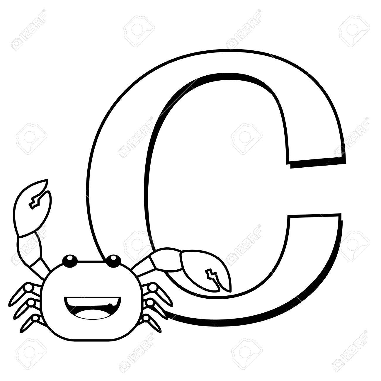 coloring alphabet for kids c with crab royalty free cliparts