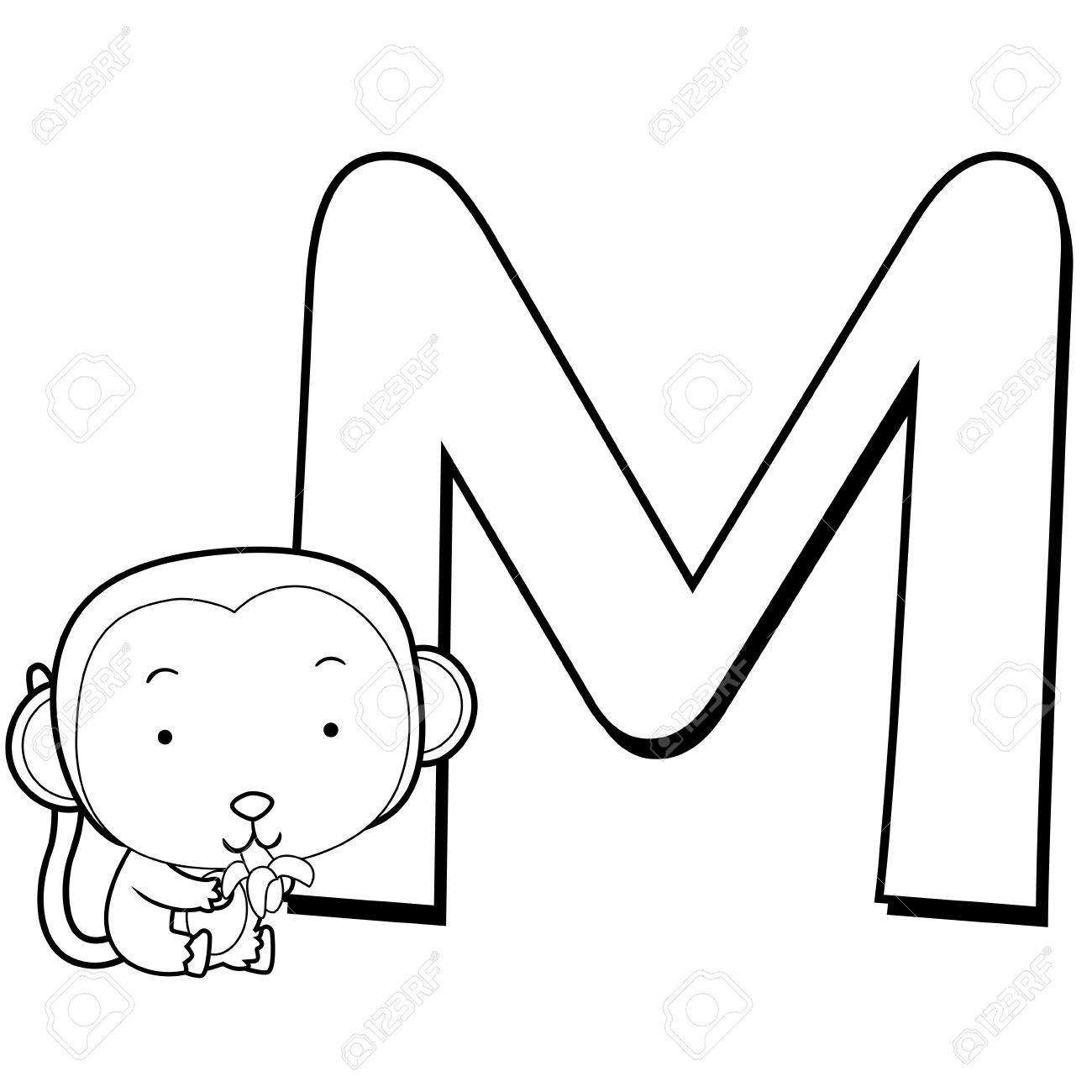 Coloring Alphabet for Kids, M with monkey Stock Vector - 14539348