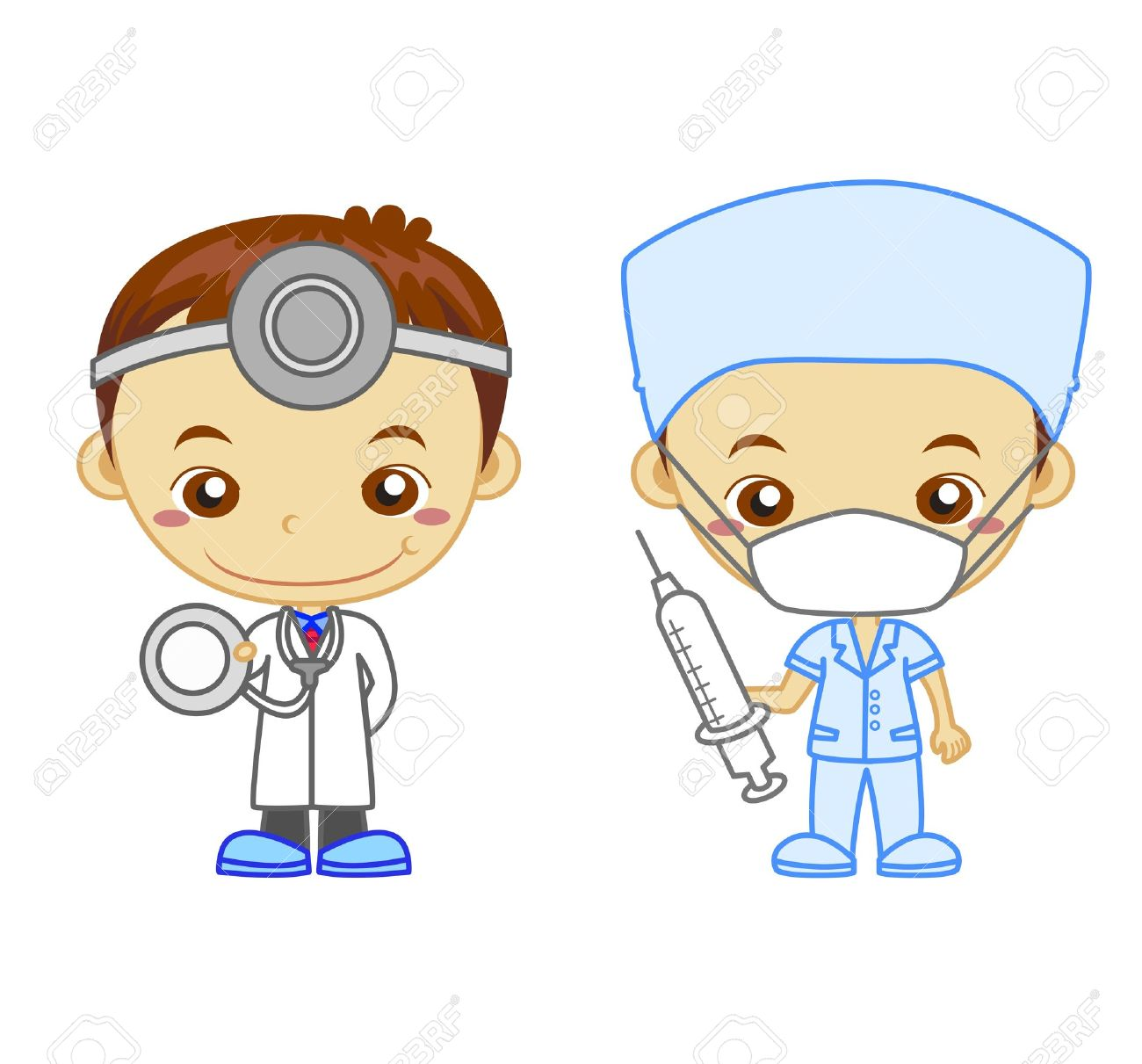 A Doctor And A Nurse Isolated On White Background Kids And Jobs ...
