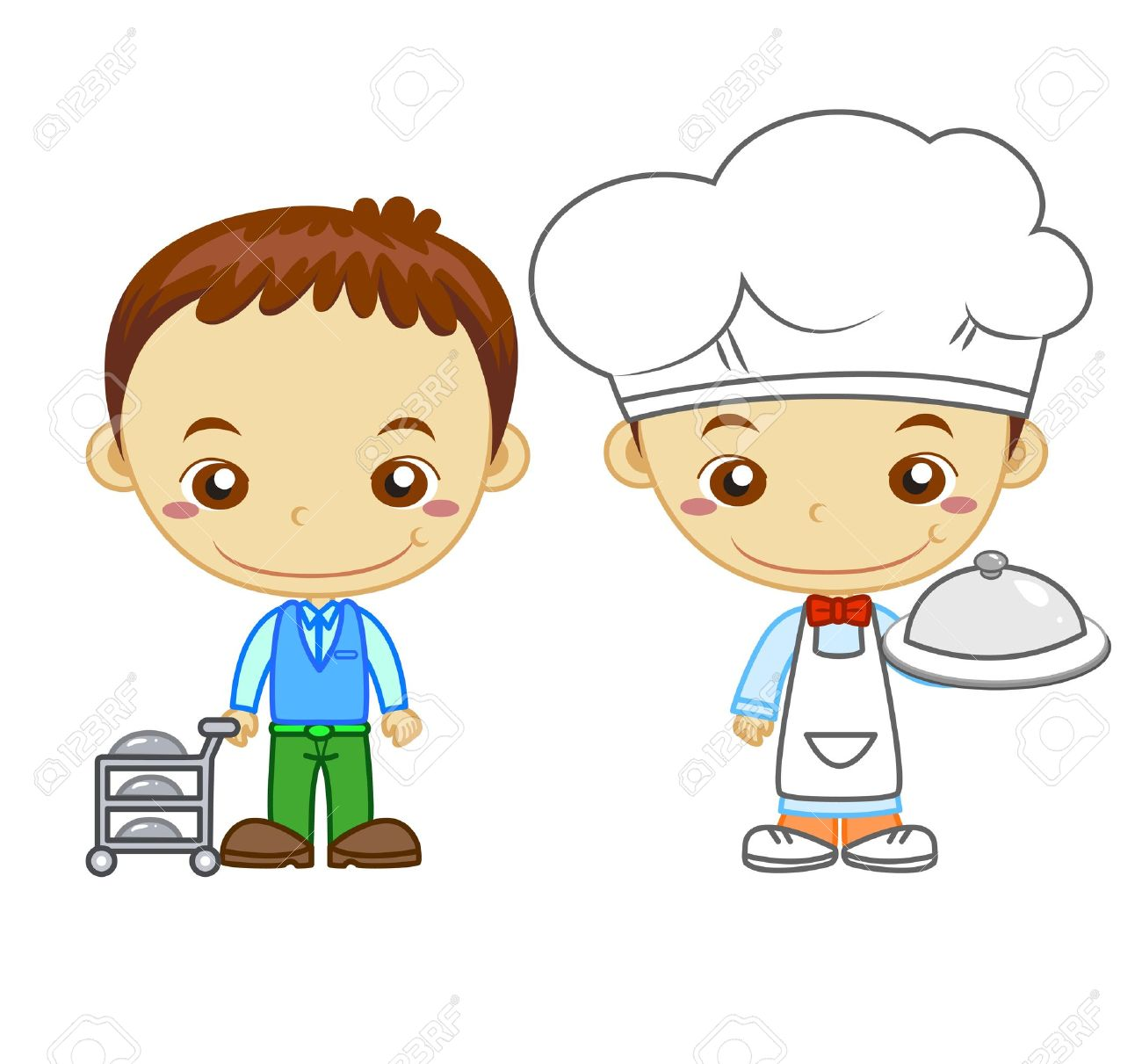 A cook and a restaurant waiter isolated on white background  Kids and Jobs series Stock Vector - 14721812