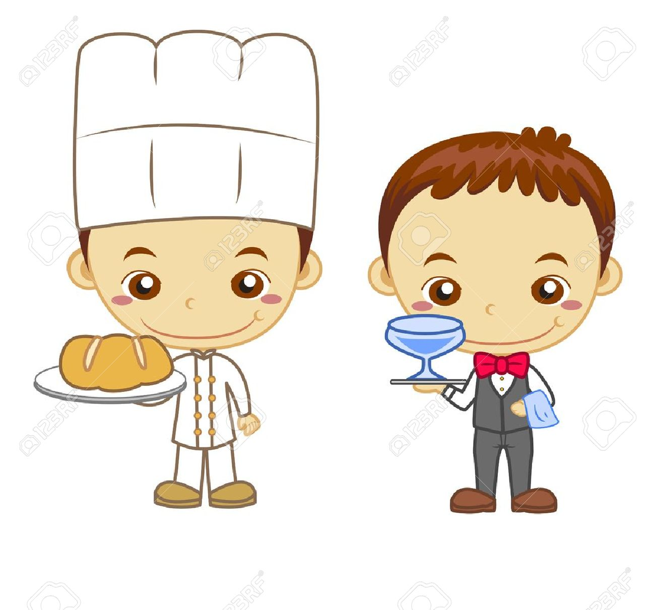 A waiter and a baker isolated on white background  Kids and Jobs series Stock Vector - 14721827