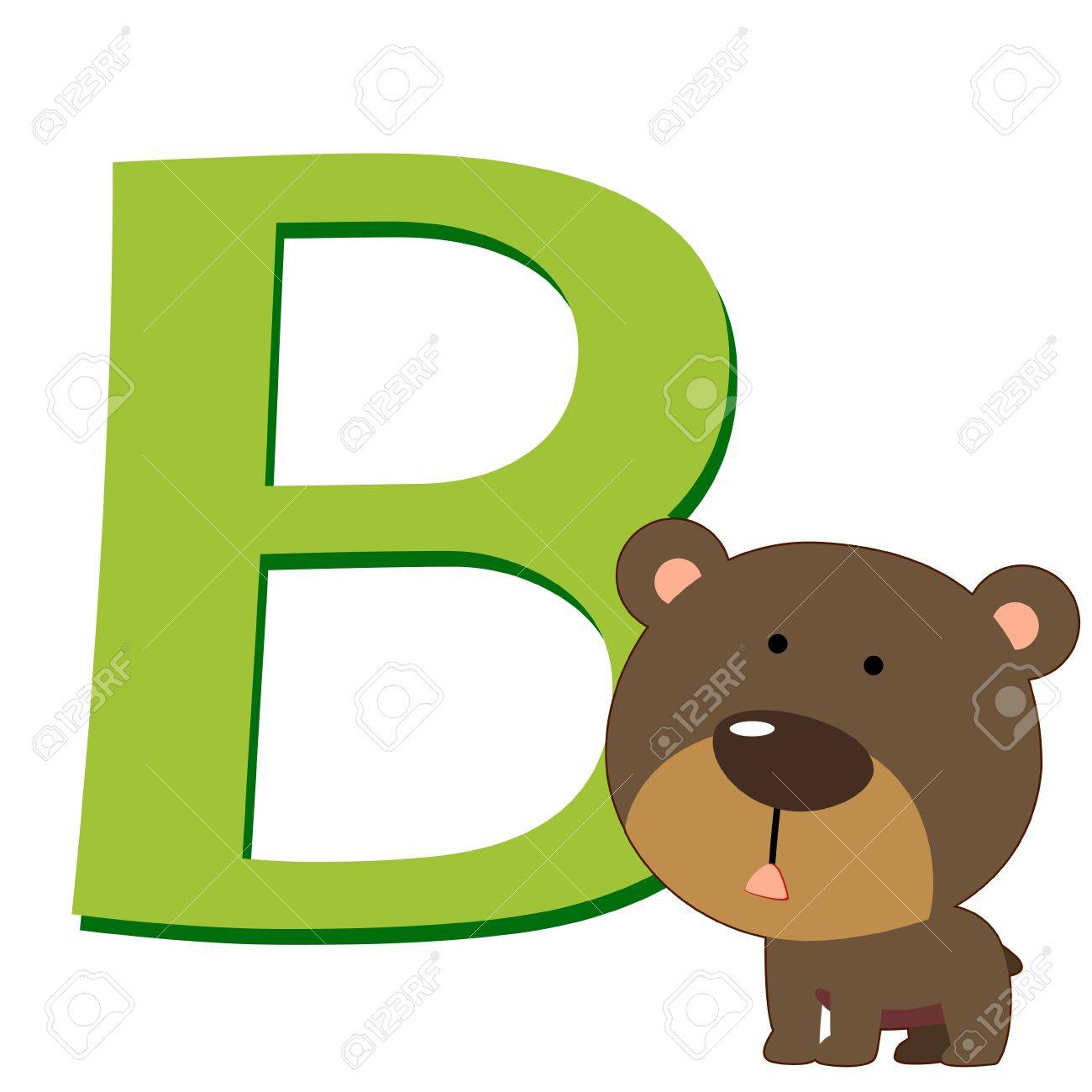 illustration of isolated animal alphabet B with bear on white Stock Vector - 14721852