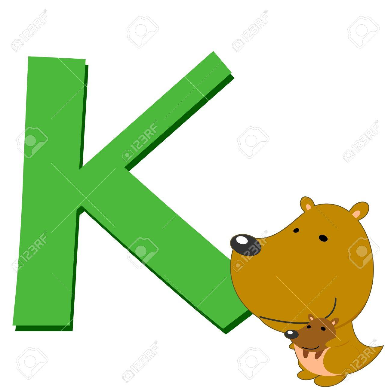 illustration of isolated animal alphabet K with kangaroo on white Stock Vector - 14721861