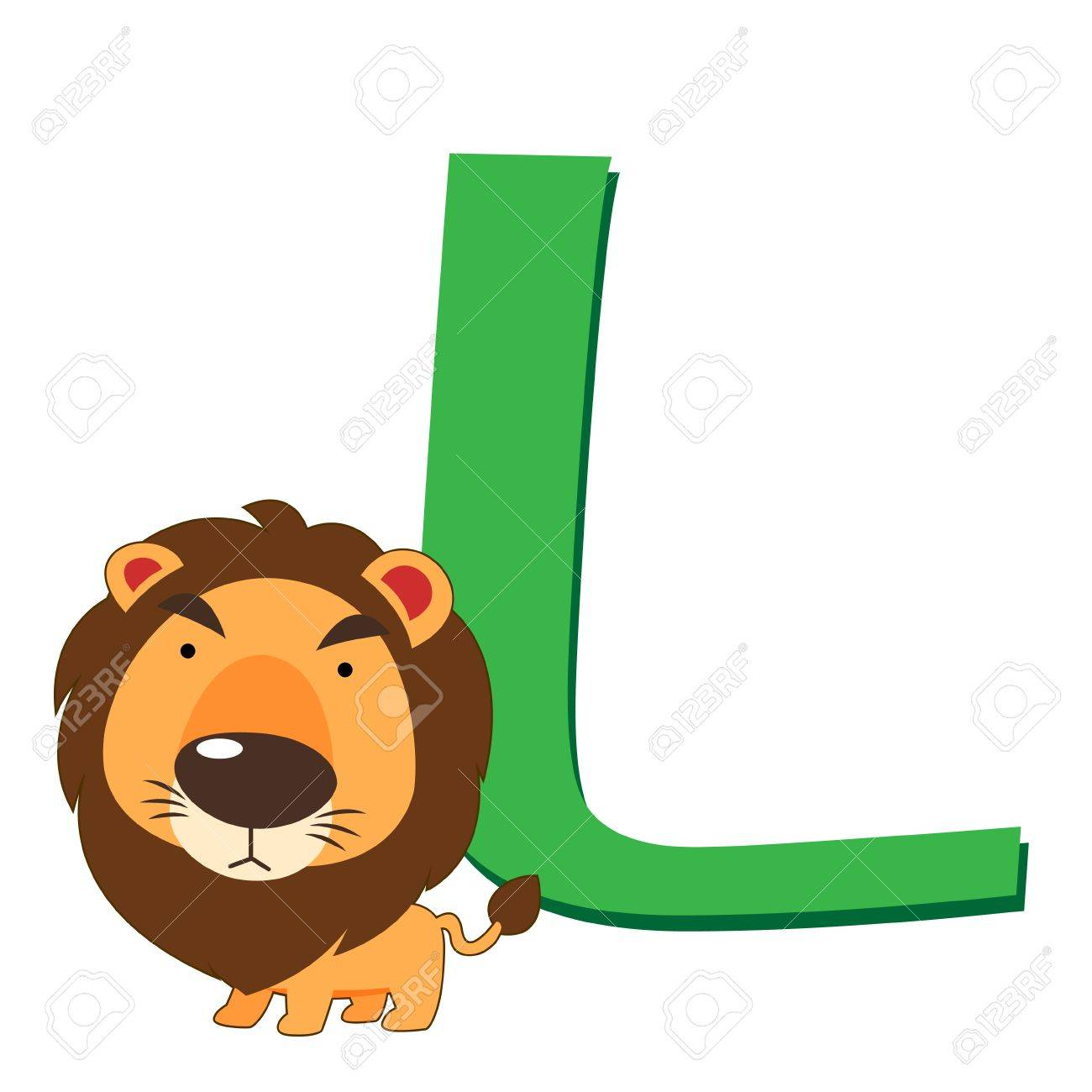 illustration of isolated animal alphabet L with lion on white Stock Vector - 14721879