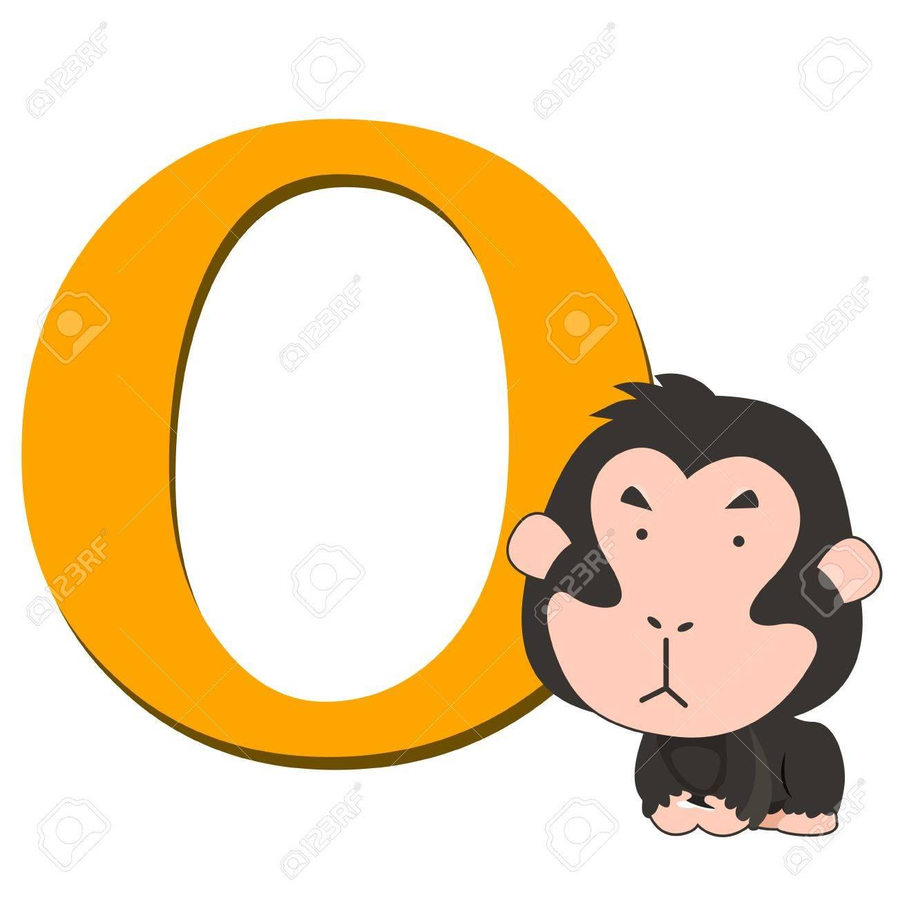 illustration of isolated animal alphabet O with orangutan on white Stock Vector - 14721858
