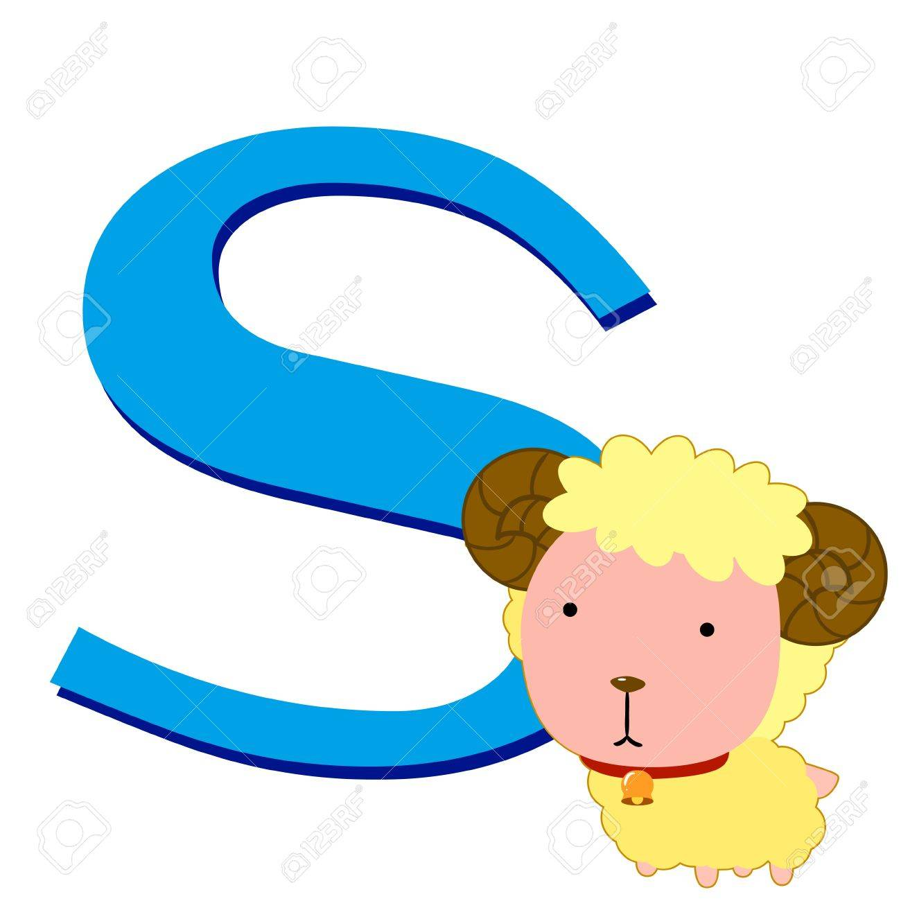 illustration of isolated animal alphabet S with sheep on white Stock Vector - 14721902