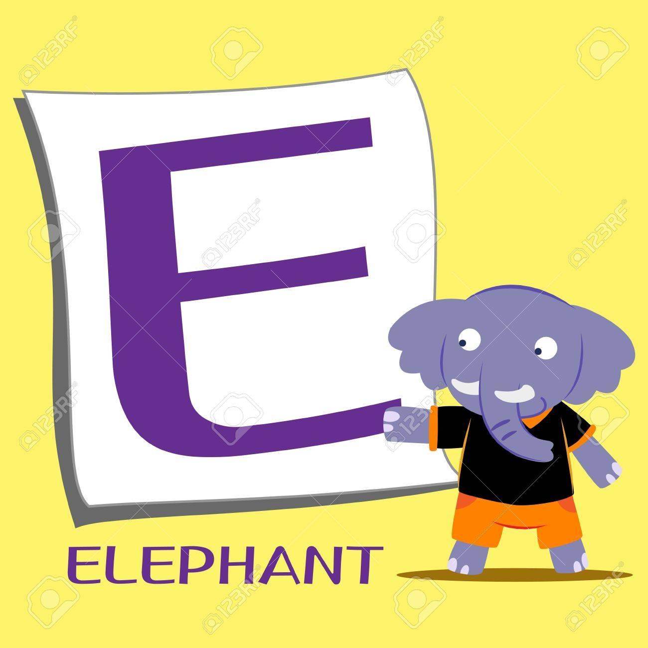 illustration of isolated animal alphabet E with elephant Stock Vector - 15208214