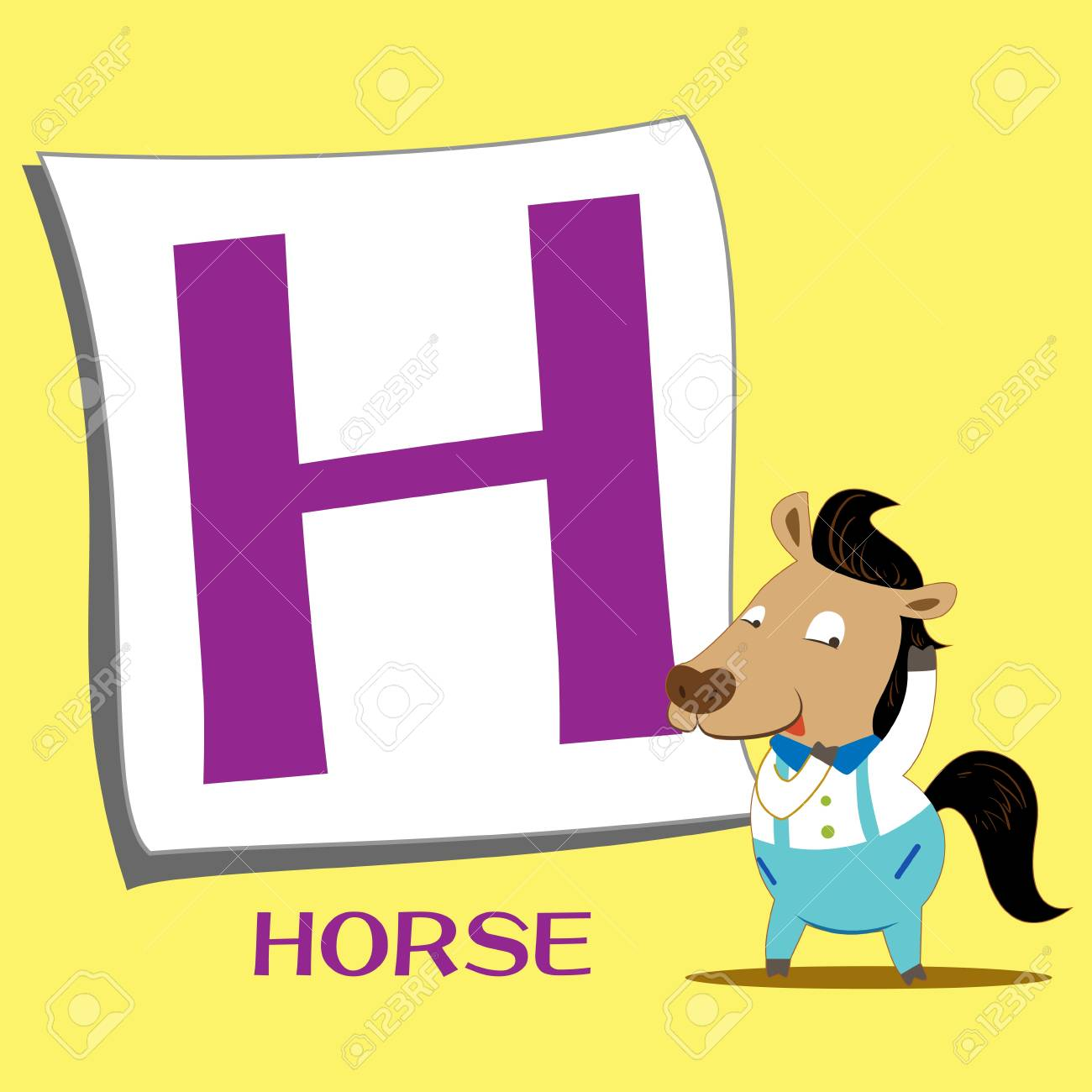 illustration of isolated animal alphabet H with horse Stock Vector - 15208272