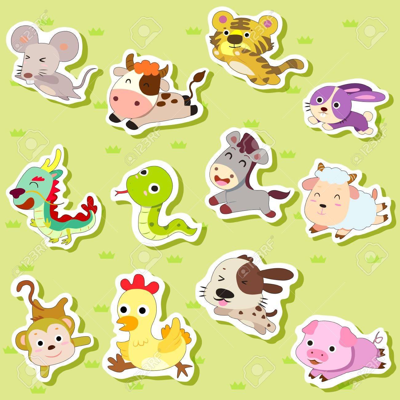12 Chinese Zodiac animal stickers,cartoon vector illustration Stock Vector - 15834116