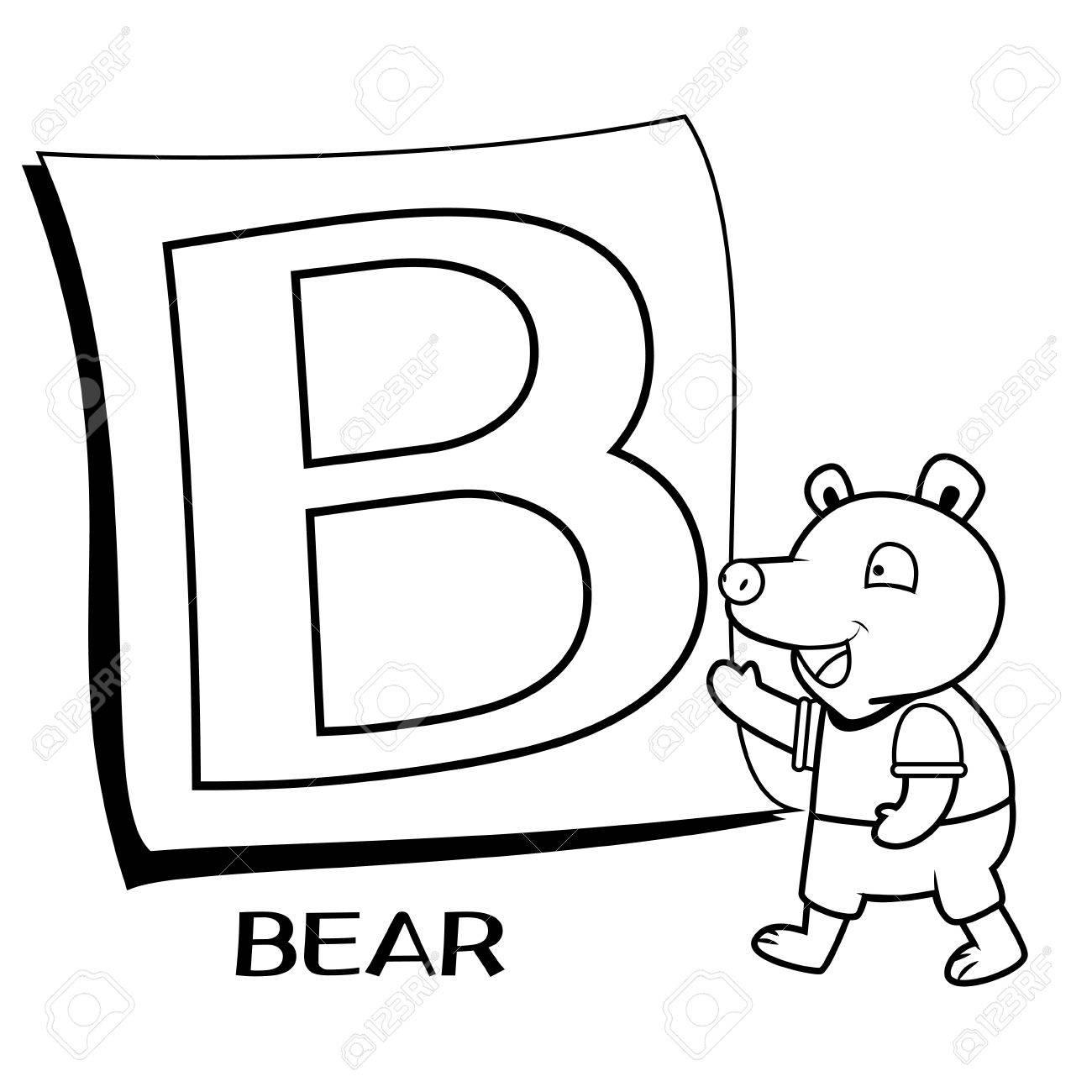 Alfabeto Para Colorear Para Los Niños, B Con El Oso Ilustraciones ...