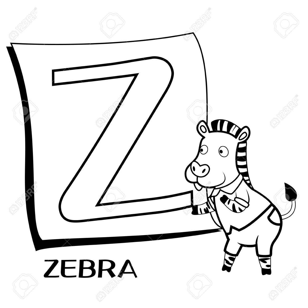 Vettoriale Alfabeto Da Colorare Per Bambini Z Con Zebra Image