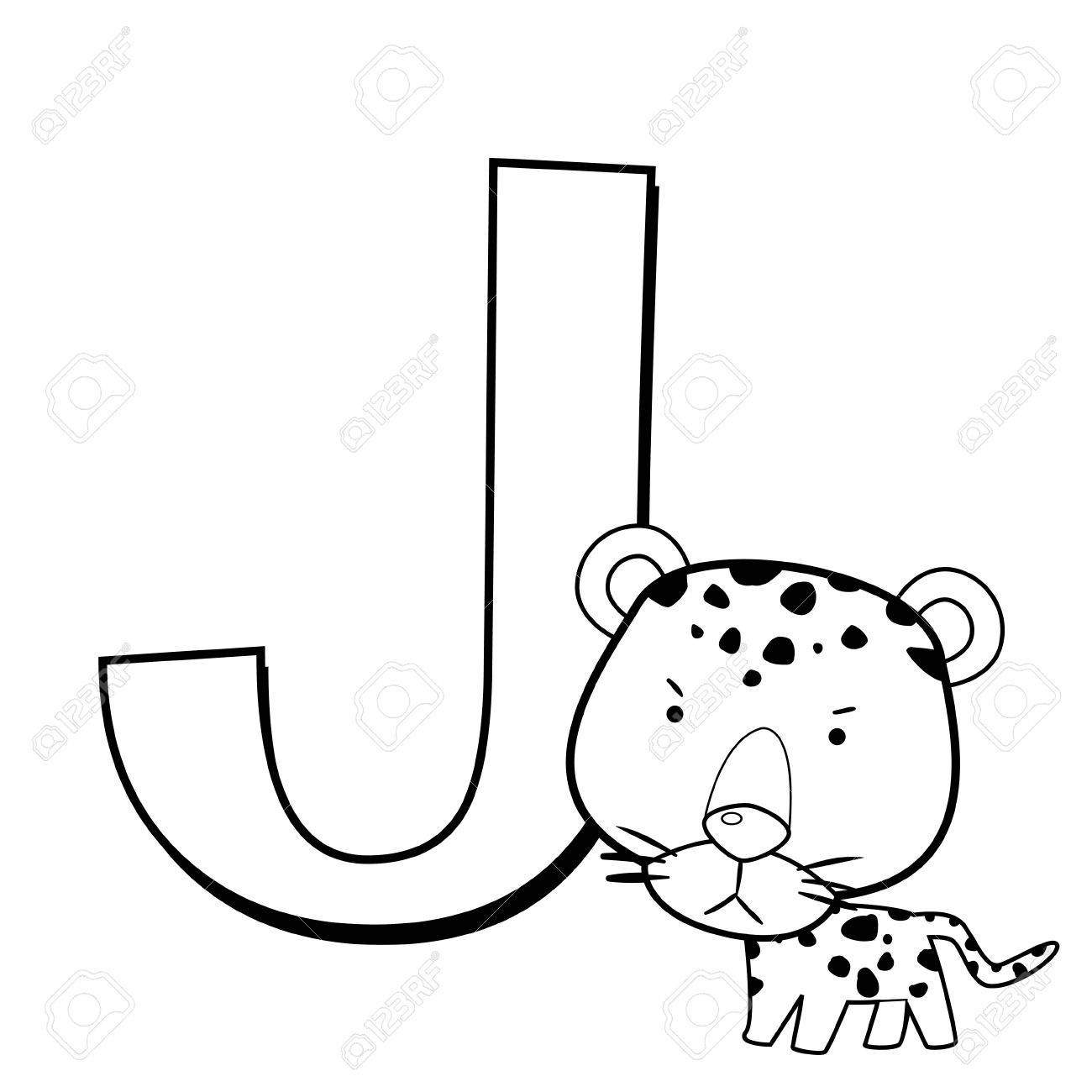 coloring alphabet for kids j with jaguar royalty free cliparts