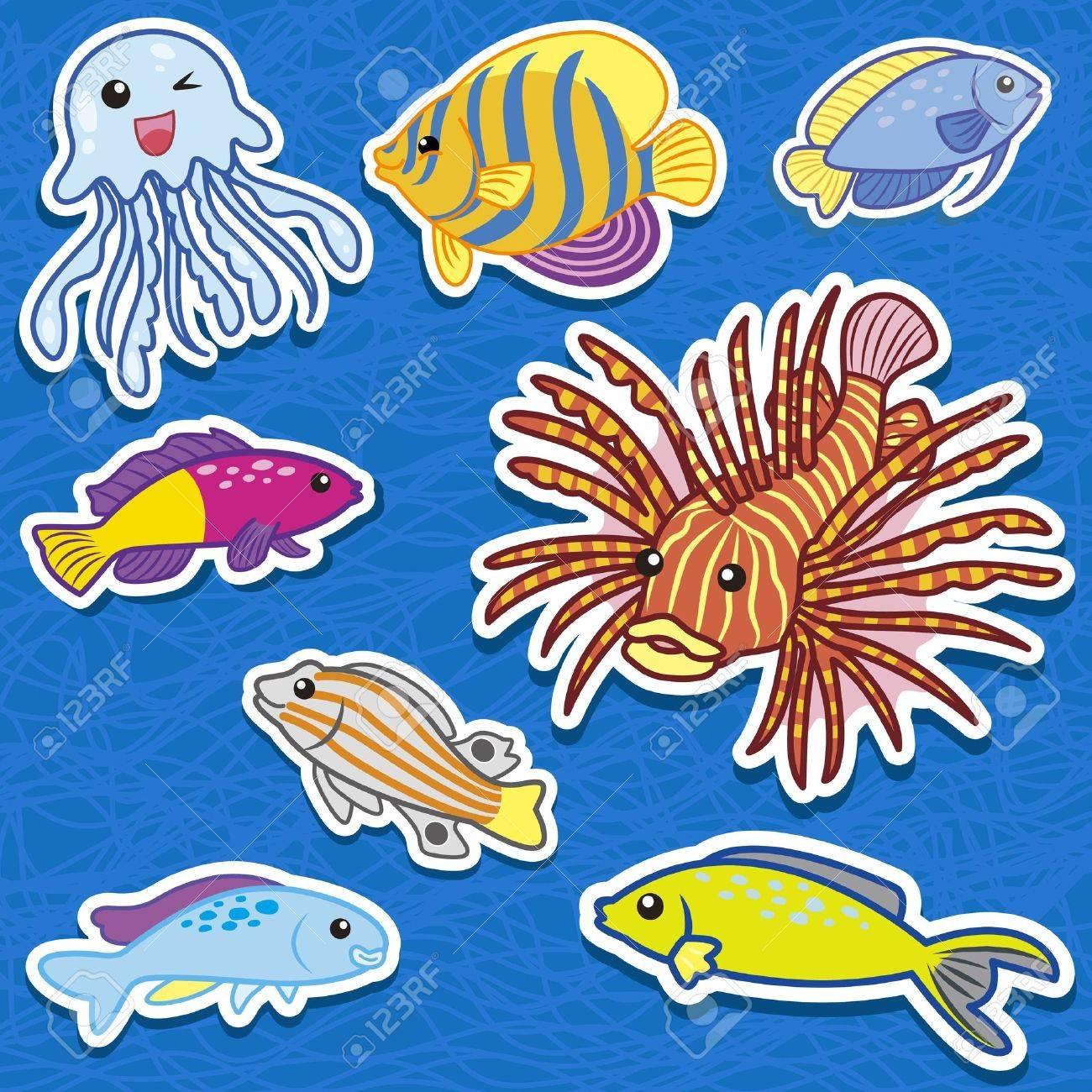 cute sea animal stickers Stock Vector - 16174561