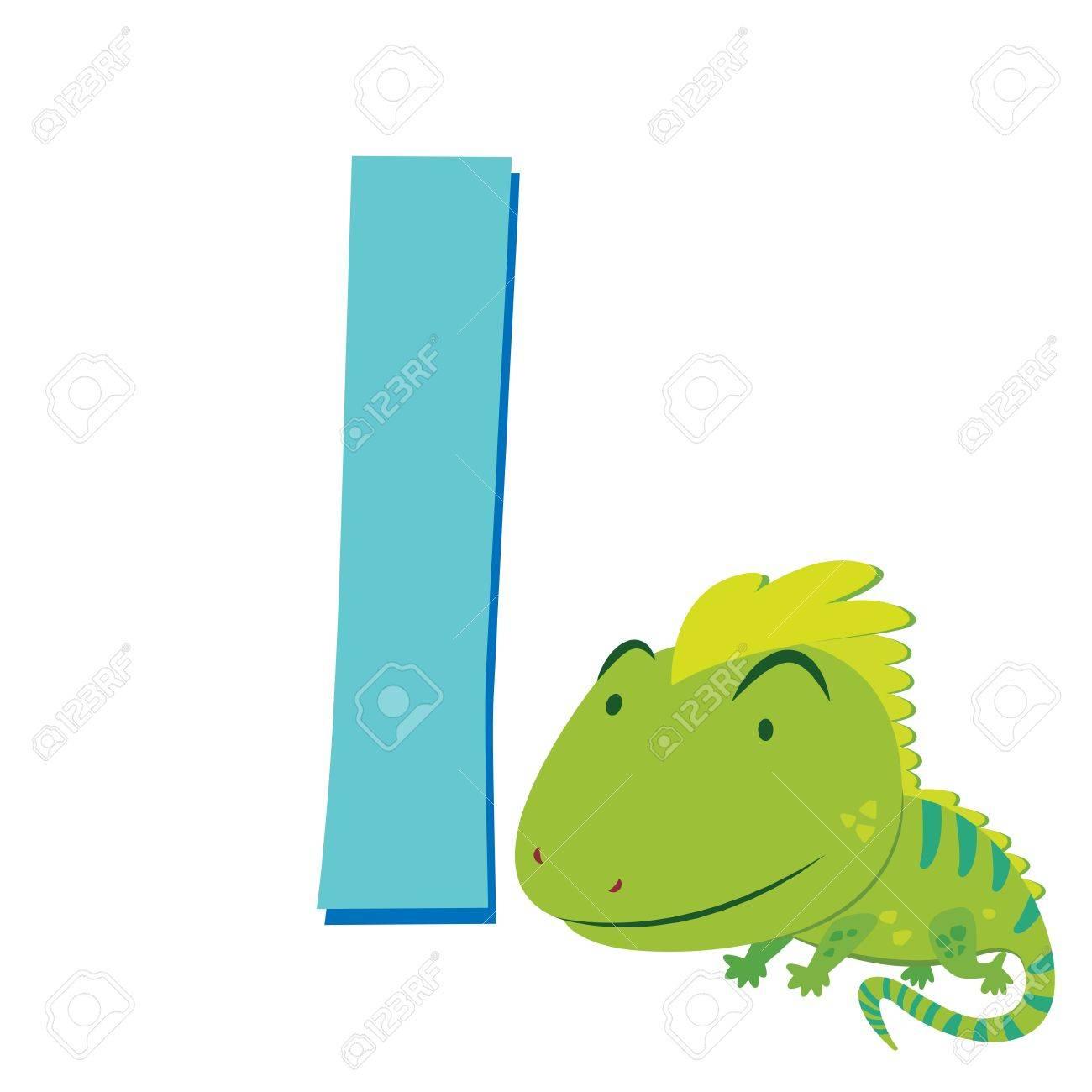 illustration of isolated animal alphabet I with iguana on white Stock Vector - 16174525