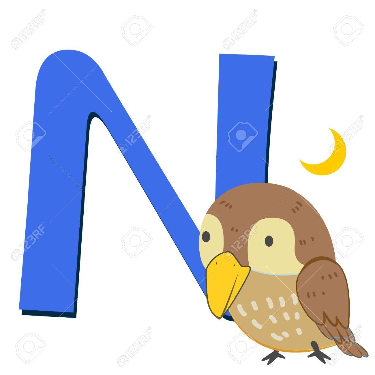 Image of: Funny Cartoon Illustration Of Isolated Animal Alphabet With Nightingale On White Stock Vector 16174524 123rfcom Illustration Of Isolated Animal Alphabet With Nightingale On