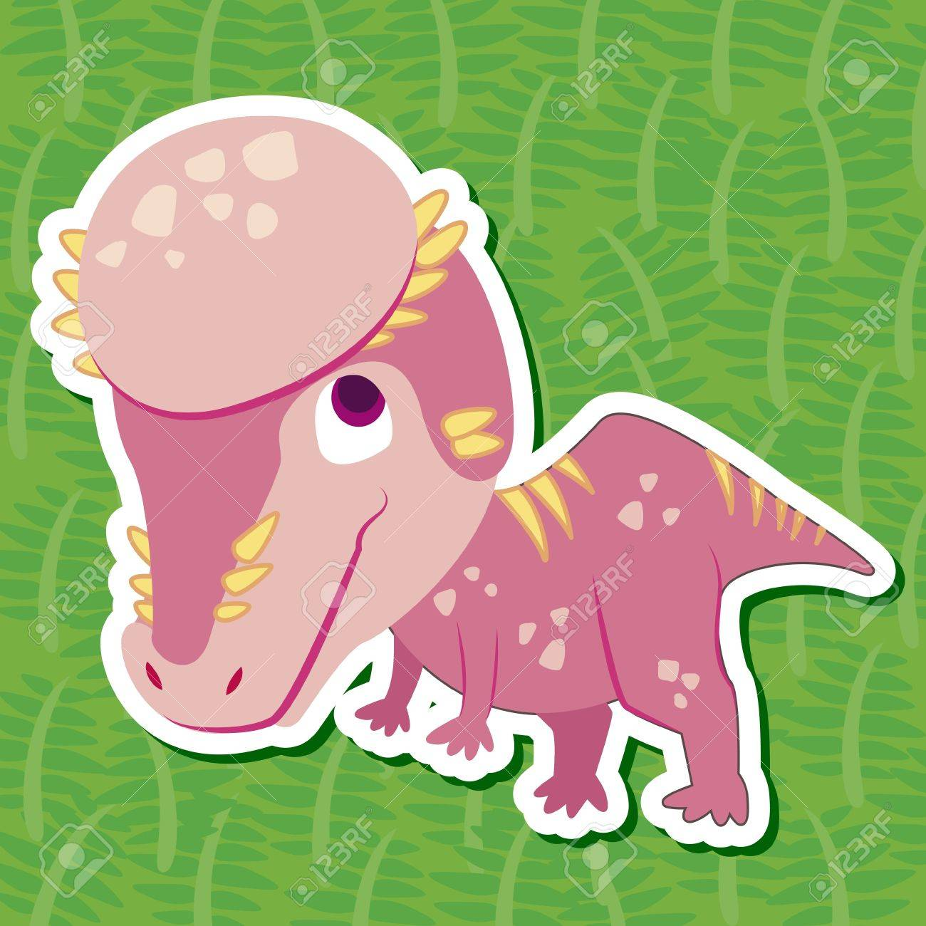 a cute dinosaur sticker with Pachycephalosaurus Stock Vector - 16263602