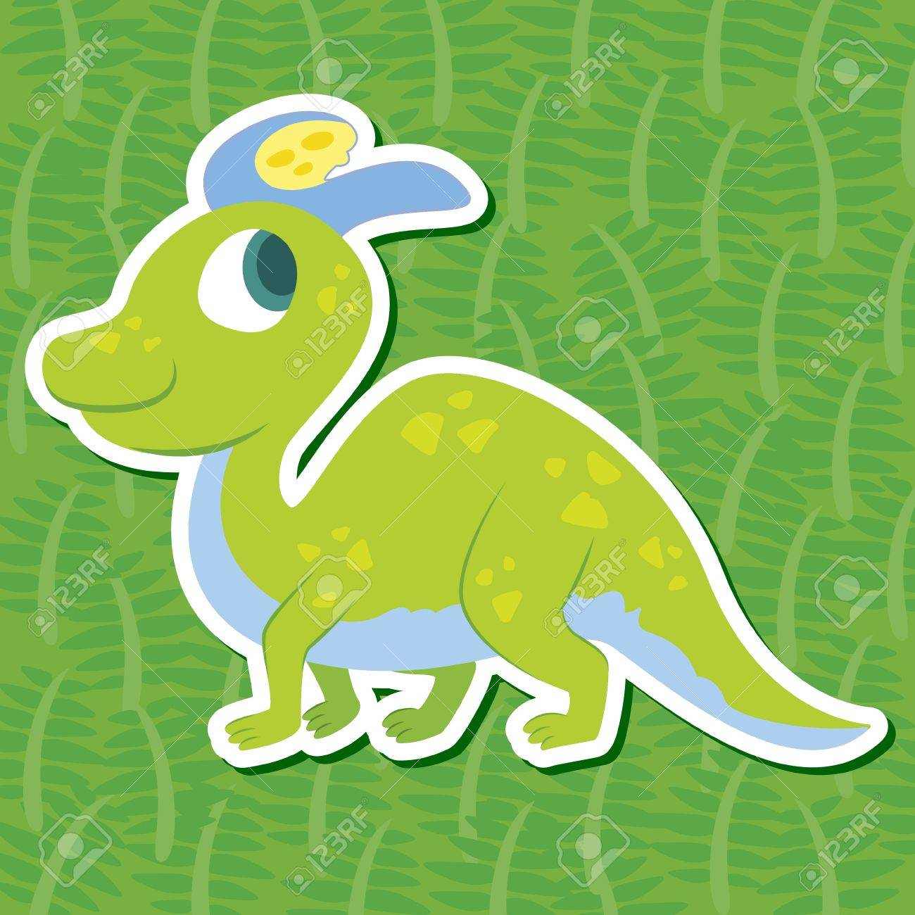 a cute dinosaur sticker with Lambeosaurus Stock Vector - 16263623