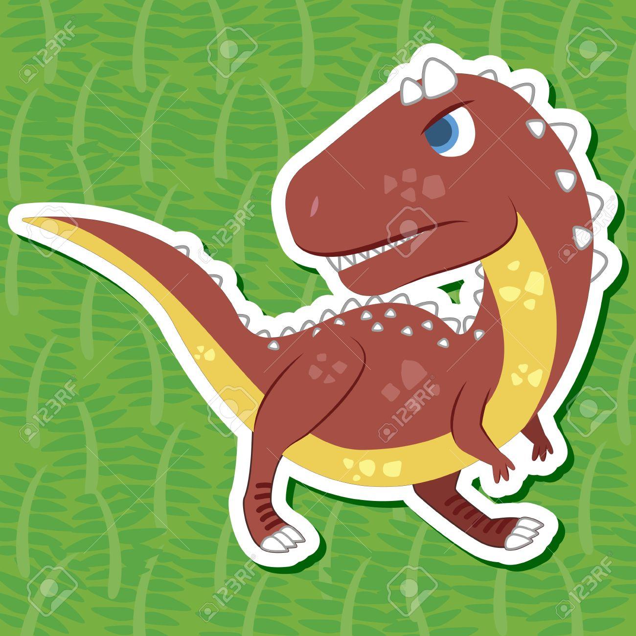 a cute dinosaur sticker with Carnotaurus Stock Vector - 16263622