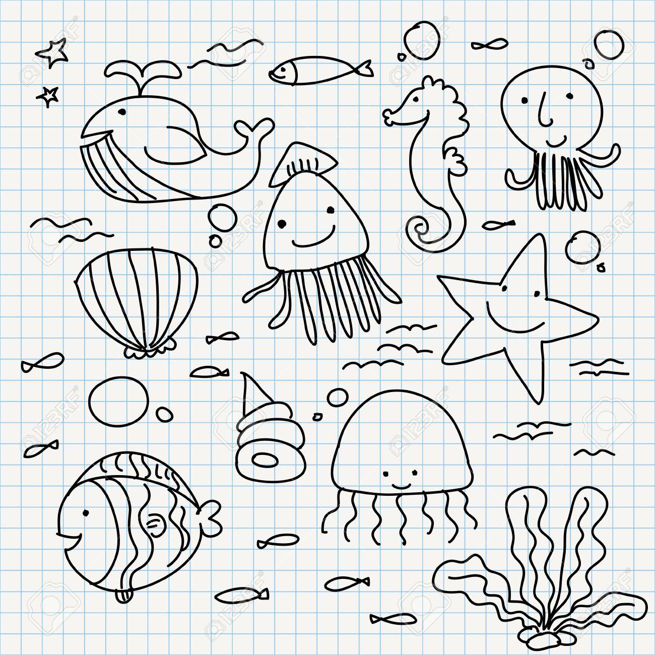 set of notebook paper doodles  sea animals Stock Vector - 16544086