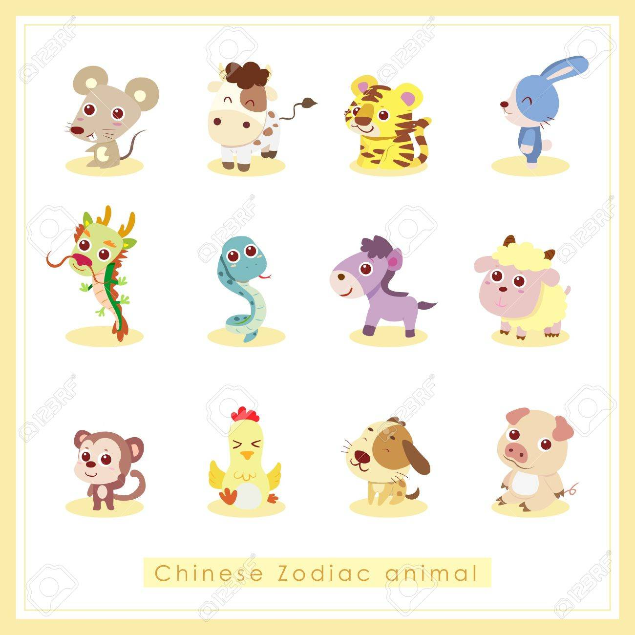 12 Chinese Zodiac animal stickers,cartoon vector illustration Stock Vector - 17017033