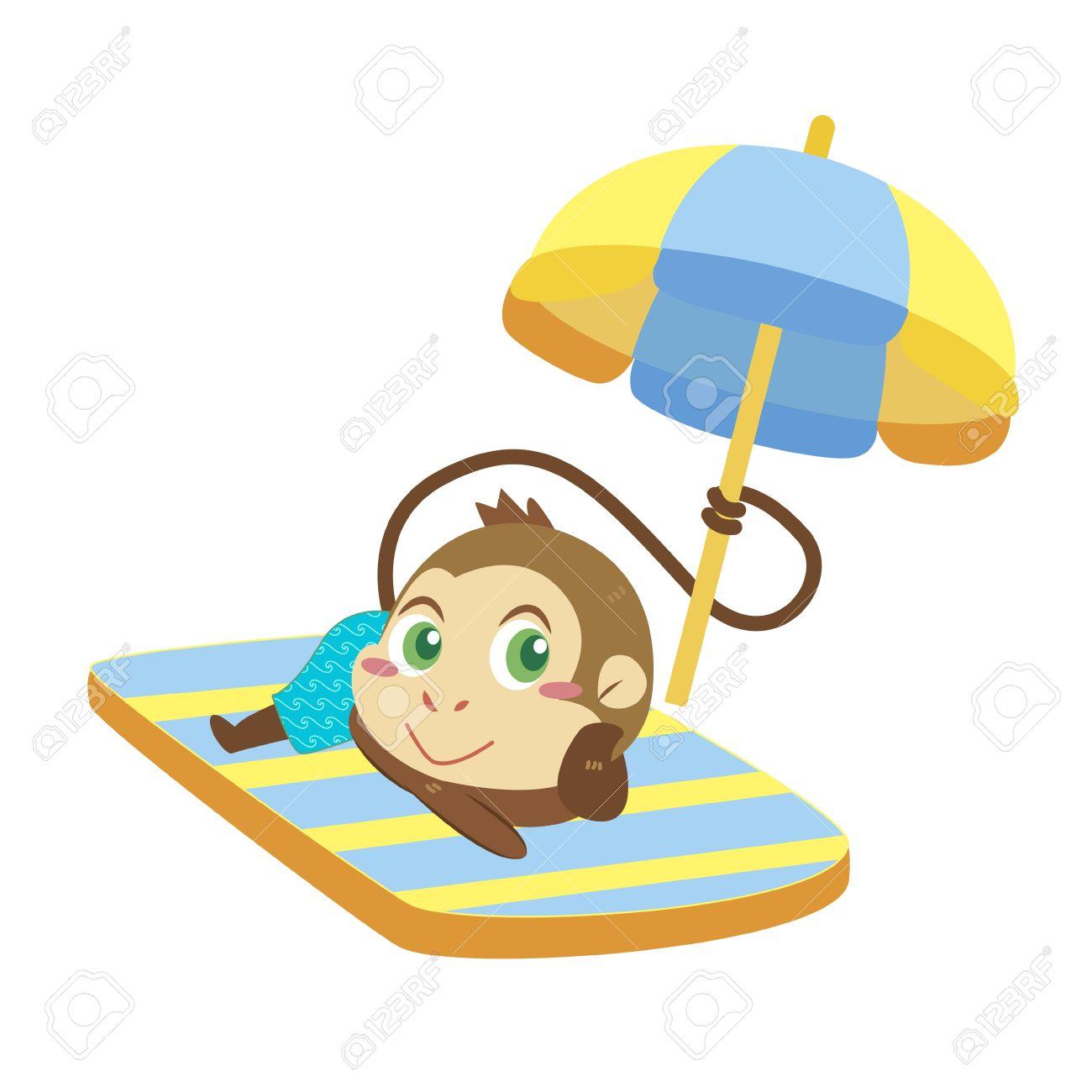 a cute monkey soak up a sunbathe Stock Vector - 17134588