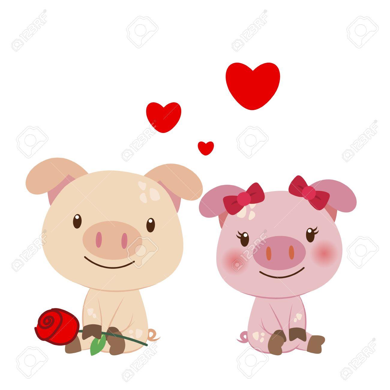 Cute Pigs Cartoon in Love Cartoon Pig Love