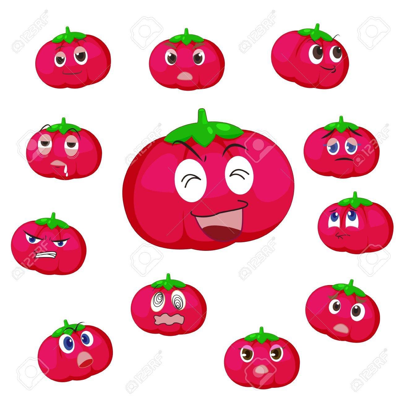 tomato cartoon with many expressions isolated on white background Stock Vector - 17274562