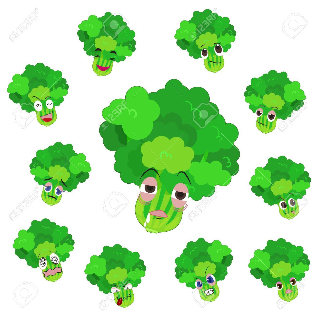 celery cartoon with many expressions isolated on white background Stock Vector - 17274610