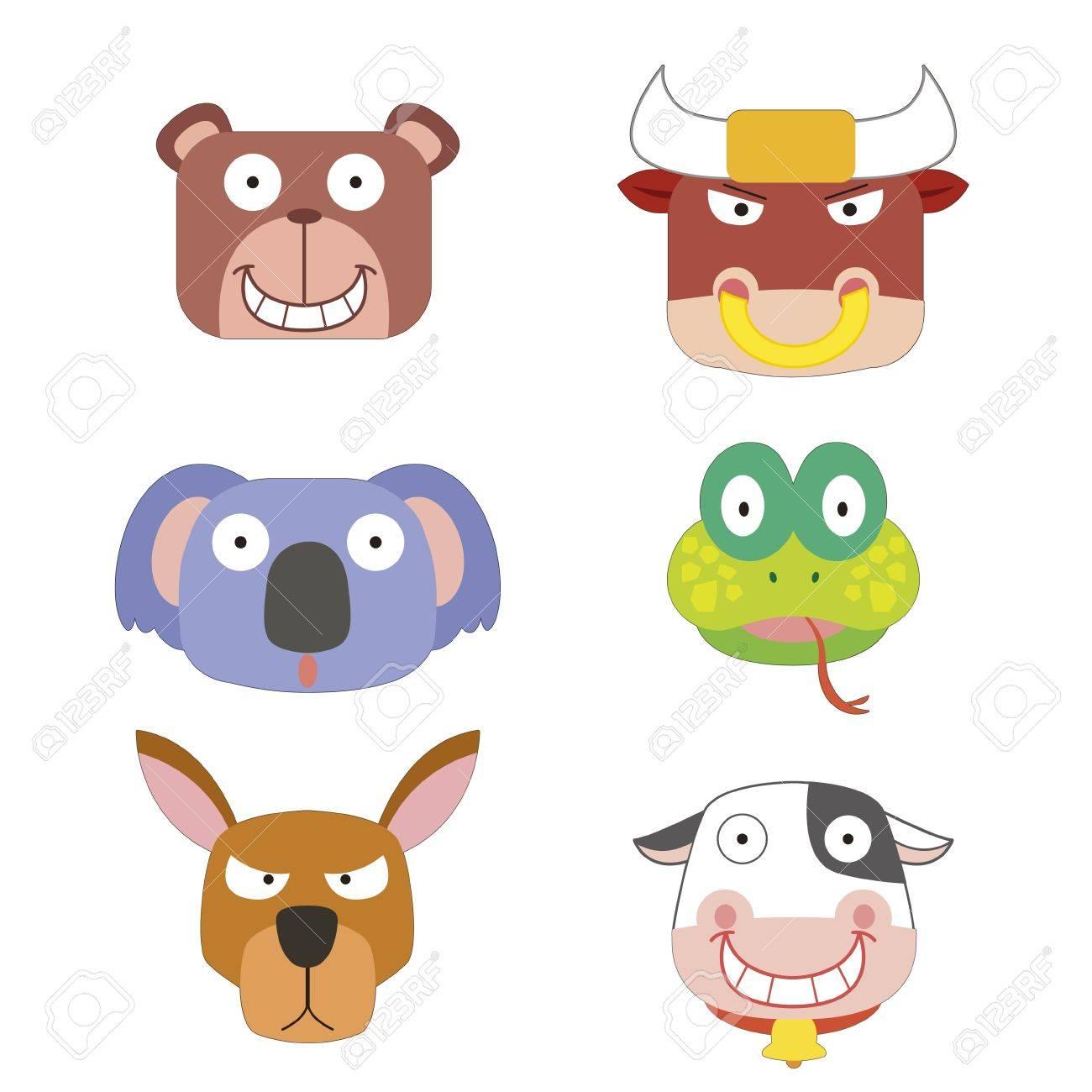 six cute cartoon animal head icons Stock Vector - 17274709