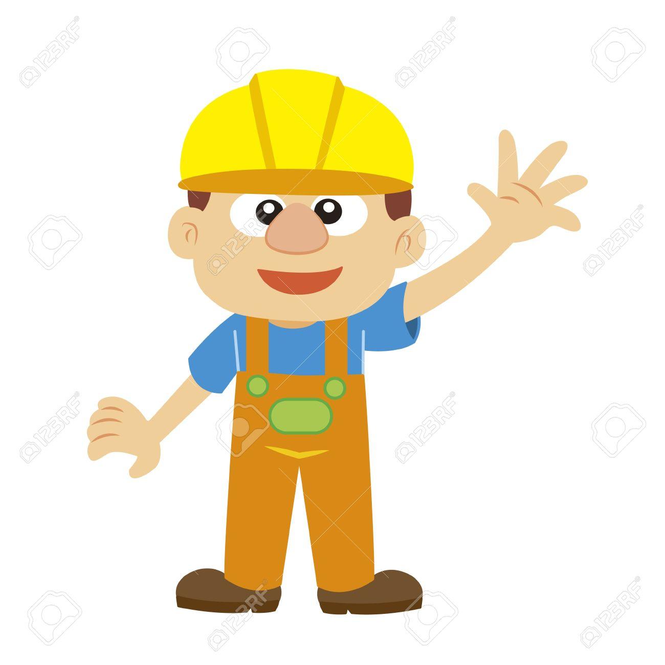 a cartoon builder in yellow helmet Stock Vector - 17274624